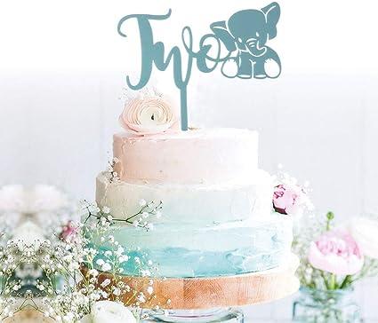 Cool Amazon Com Grantparty 2Nd Second Blue Elephant Birthday Cake Personalised Birthday Cards Veneteletsinfo