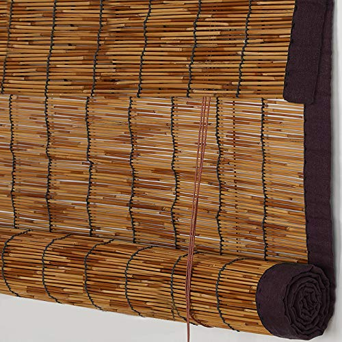 PASSENGER PIGEON Reed Window Blinds, Light Filtering Roll Up Blinds with Valance for Garden,Patio,Gallery,Balcony 72