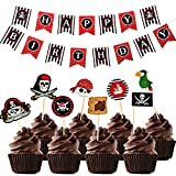 42 pieces Pirate Birthday Party Decoration,Pirate Happy Birthday Banner and Pirate Cupcake Toppers for kids Pirate Theme Party Supplies
