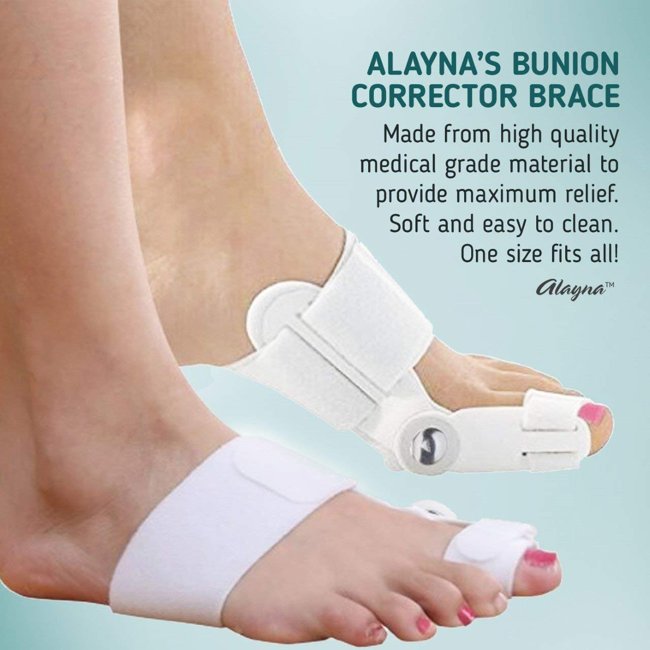 Bunion Corrector and Bunion Relief Orthopedic Bunion Splint Pads for Men and Women Hammer Toe Straightener and Bunion Protector Cushions- Relieve Hallux Valgus Foot Pain and Soothe Sore Bunions by Alayna (Image #6)
