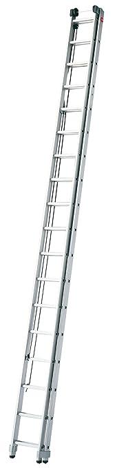 Hailo ProfiStep duo, 2-teilige Alu-Seilzugleiter, 2x15 Sprossen, Einhand-Höhenverstellung, Rasthaken, belastbar bis 150 kg, m