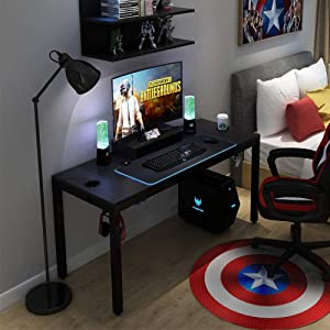 "Need Large Gaming Table Black Walnut All-in-One Gaming Workstation with RGB LED Soft Gaming Mouse Pad 60"" Length for Large Guys"
