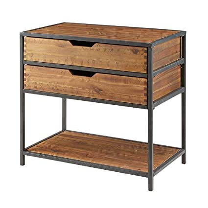 Madison Park Hudson Storage Chest Acacia Wood Metal Living Room Storage Natural Wood Modern Style Dresser Chest 1 Piece 2 Drawer Chest For