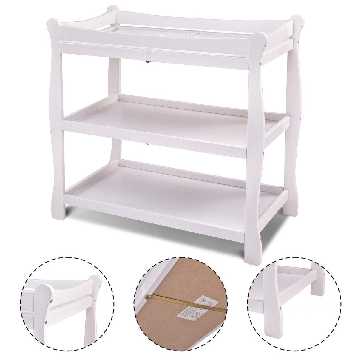 GHP 35.5''x18''x37'' White Wood 2-Level Shelve Sleigh Style Baby Diaper Changing Table
