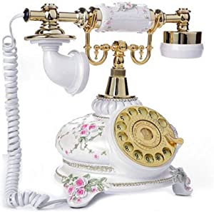 TelPal Rotary Dial Telephone Retro Old Fashioned Landline Phones with Classic Metal Bell,Corded Phone for Home and Decor