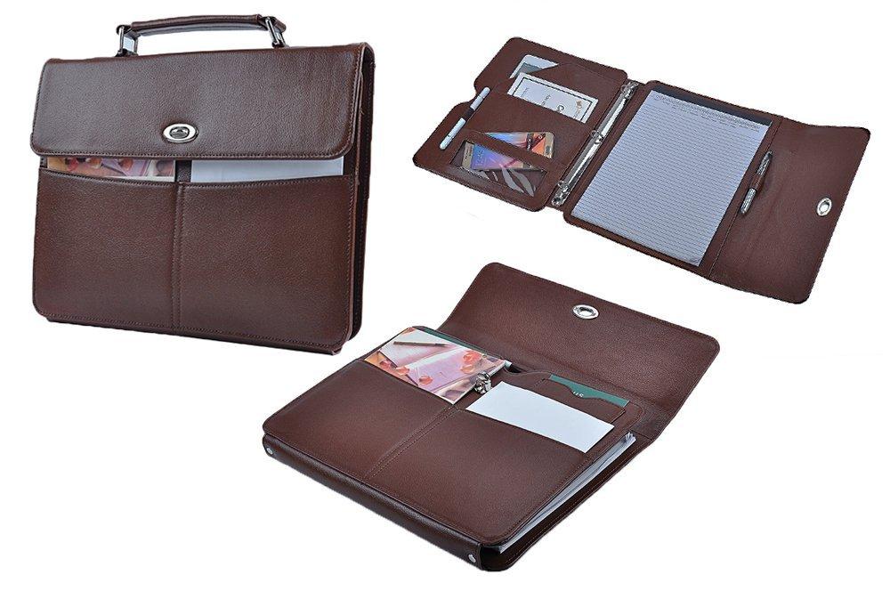 Binder Portfolio with Handle, Leather Organizer Padfolio with 3-Ring Binder,Brown
