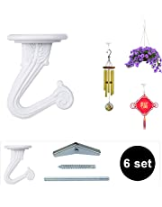 OOTSR 6 Sets Metal Ceiling Hooks, Heavy Duty Swag Ceiling Hooks With Hardware for Hanging Plants/Chandeliers/Wind Chimes/Ornament(White Color)