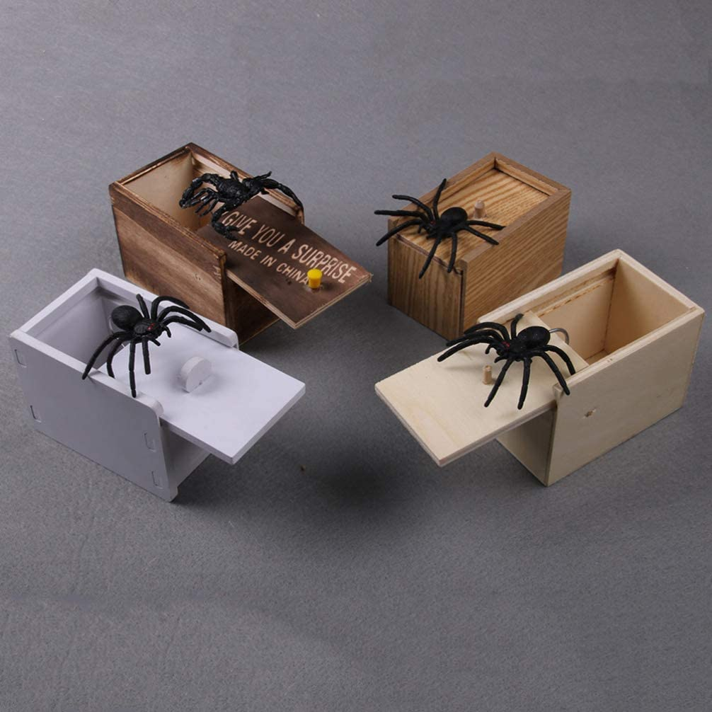 Spider Surprise Box, Spider Prank Scare Box Wooden Halloween Decorations Party Gift Gags Practical Joke Toys