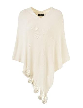 59e395201 Ferand Women's Cozy Warm Poncho Sweater Elegant Shawl Wrap with Cute Pompoms  , One size ,
