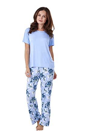 Ladies Soft Pyjama Set Womens Short Sleeve Floral Loungewear Spots Nightwear   Amazon.co.uk  Clothing e563d588a
