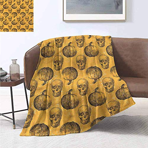 HCCJLCKS Throw Blanket Pumpkin Halloween Theme Scary Skull Bedroom Warm W70 xL93 Traveling,Hiking,Camping,Full Queen,TV,Cabin -