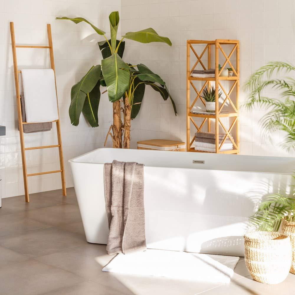 Estantería de 5 baldas nórdica marrón de bambú para baño Sol Naciente - LOLAhome: Amazon.es: Hogar