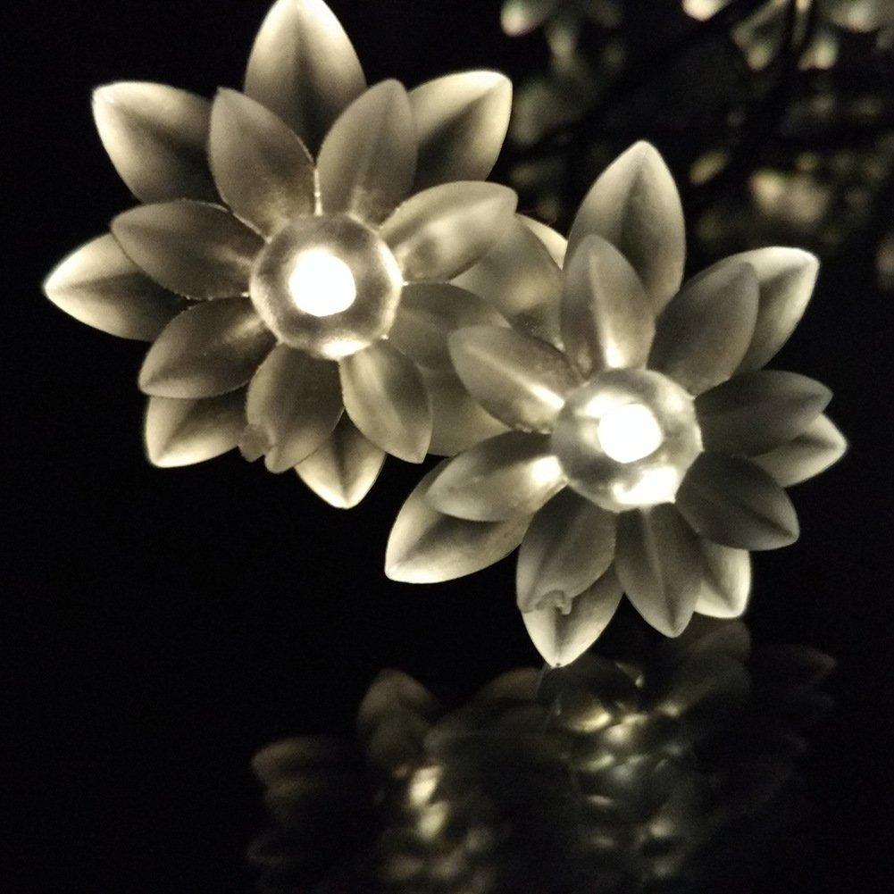 Solar Christmas Fairy String Lights 72ft 22M 200Leds Led Double Lotus Flower Lights for Outdoor Garden Patio(Warm White)