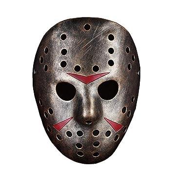 Máscara de resina para Halloween, máscara de bronce Jason, colección Xinxun, edición de película temática para niños, máscara de adulto marrón: Amazon.es: ...