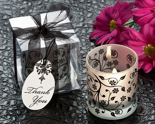 Frosted Elegance Black and White Tea Light Candle Holder-Wedding and Party Favor Guest Keepsake Gift