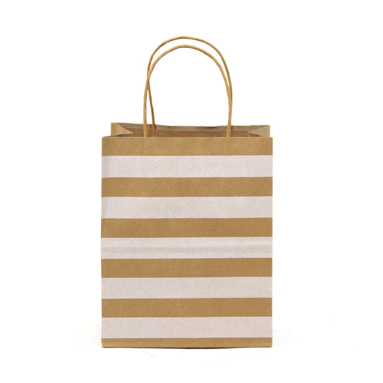 Premium Quality Natural Brown Kraft Bag, Birthday Party Gift Favor Bag Set, Biodegradable Paper (24CT, Stripe Medium)