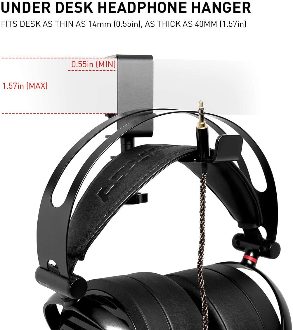 Iootmoy Headphone Hanger Aluminum Headset Bracket Hook Adjustable and 360 Degree Rotating Screw Clamp for Gaming Headset Desk Hanger Holder with Cable Organizer