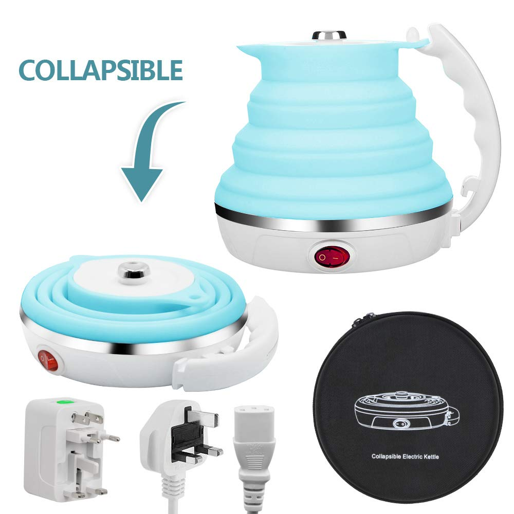 SURPCOS Travel Electric Kettle Portable Travel Food Grade Silicone Collapsible Kettle with Dual Voltage and Separable Power Cord Blue
