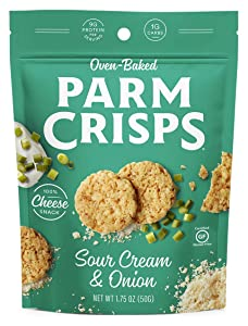 ParmCrisps, Original, 100% Cheese Crisps, Keto Friendly, Gluten Free (Sour Cream & Onion, 4 Pack)