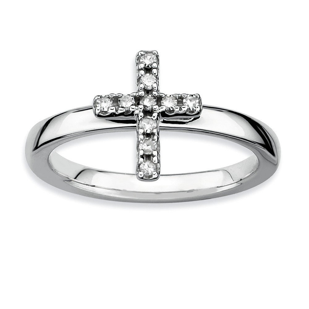 Top 10 Jewelry Gift Sterling Silver Stackable Expressions Cross Diamond Ring