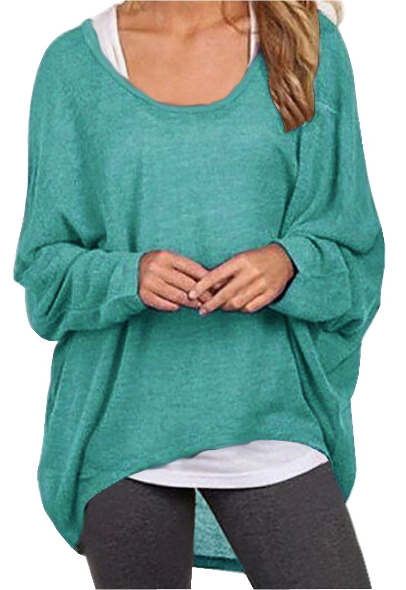 UGET Women's Sweater Casual Oversized Baggy Off-Shoulder Shirts Batwing Sleeve Pullover Shirts Tops Asia L Green