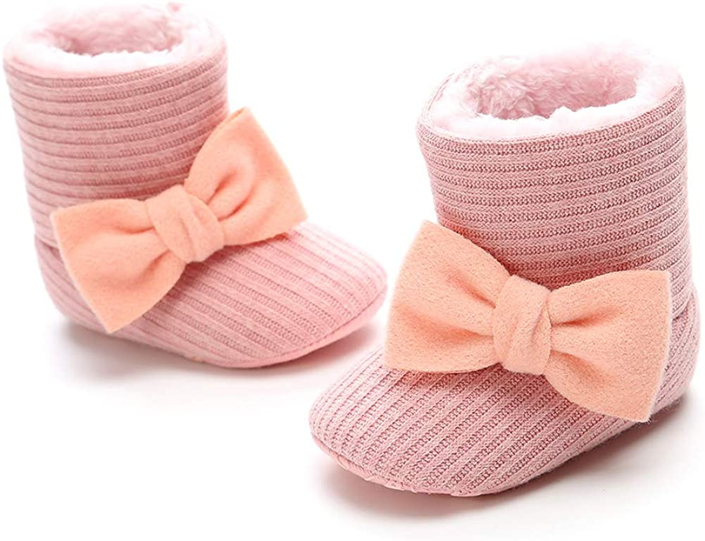CLOUCKY Infant Girls Cute Bowknot Booties Baby Girl Warm Winter Snow Boots