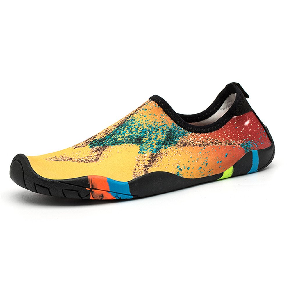 FLORENCE IISA Water Shoes Women Men Barefoot Quick-Dry Beach Swim Shoes Aqua Socks Unisex Water Sports Shoes (44,PatternGD)