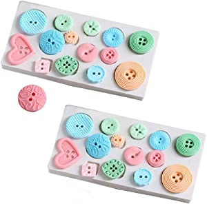 2 Pack Cake Decorating Molds Button Shaped Silicone Moulds Cupcake Decor Baking Tool by EORTA for Fondant Chocolate Candy Paste Sugar Craft, White