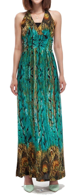Chinmoon damen maxi boho sommerkleid v ausschnitt blumenmusterpfau hohe taille mit tr gern - Sommerkleid v ausschnitt ...