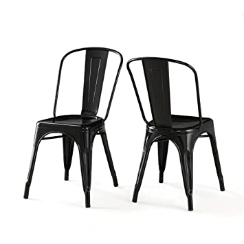 set of 2 black xavier pauchard tolix a style chairs in powder coat finish steel includes chairs xavier pauchard