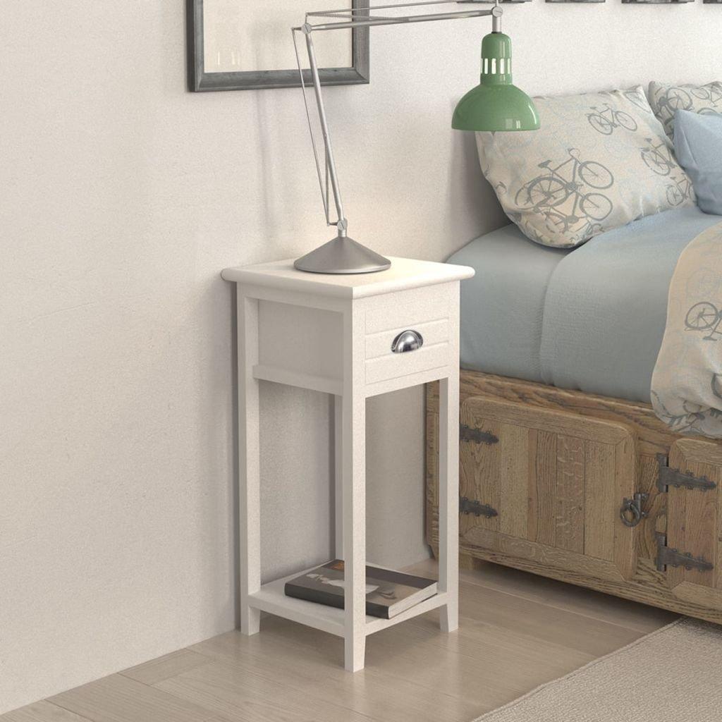 Xingshuoonline mesilla de Noche con 1 cajón 30 X 30 X 63 cm (L x l x h) gastado como mesilla de Noche o Soporte para teléfono Blanco