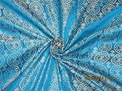 """Puresilks 100% seda pura brocado tela Aqua azul x plata color 44"""" ..."""