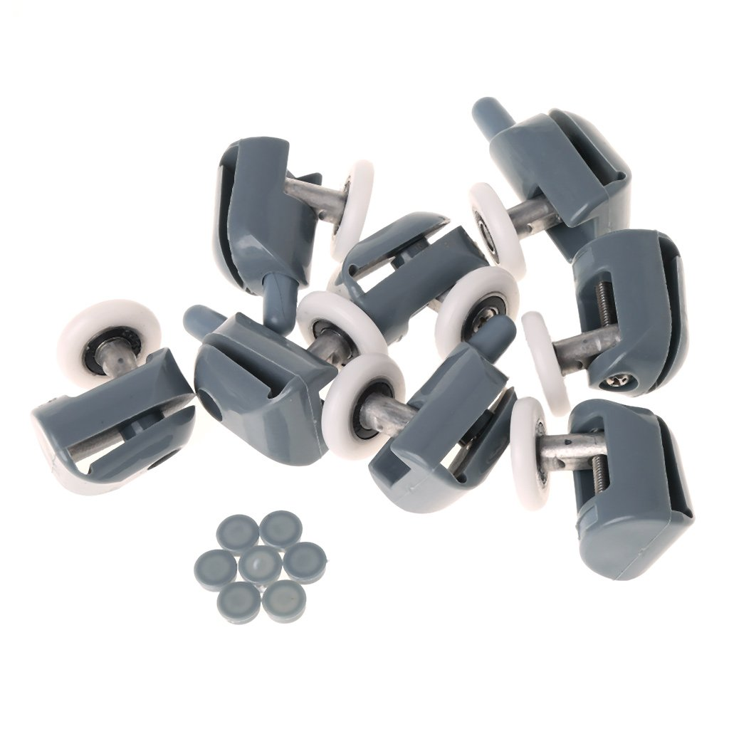 Goodqueen 8 Pcs Single Shower Door Rollers Runners Wheels Pulleys Guides 25mm Diameter for GQ1AA400016