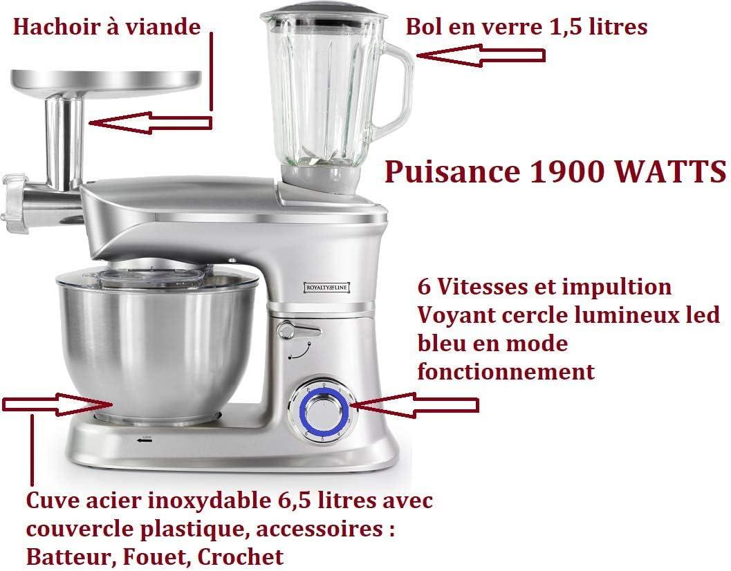 Royalty Line - Robot de cocina multifunción de 1900 W, mezclador ...