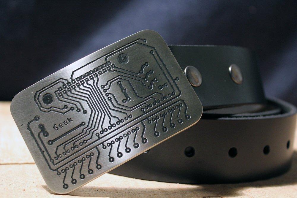 GEEK Circuit Board Etched Metal Belt Buckle
