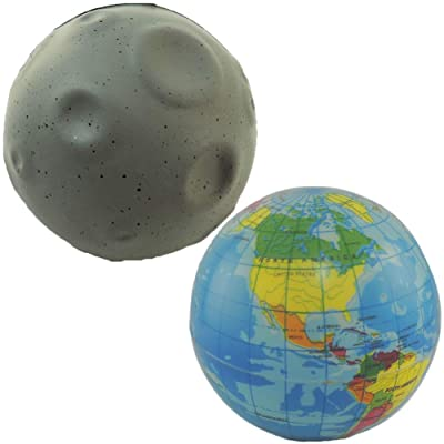 Novelty Giant Earth Globe & Moon Squeeze Toy Stress Ball Set of 2: Toys & Games