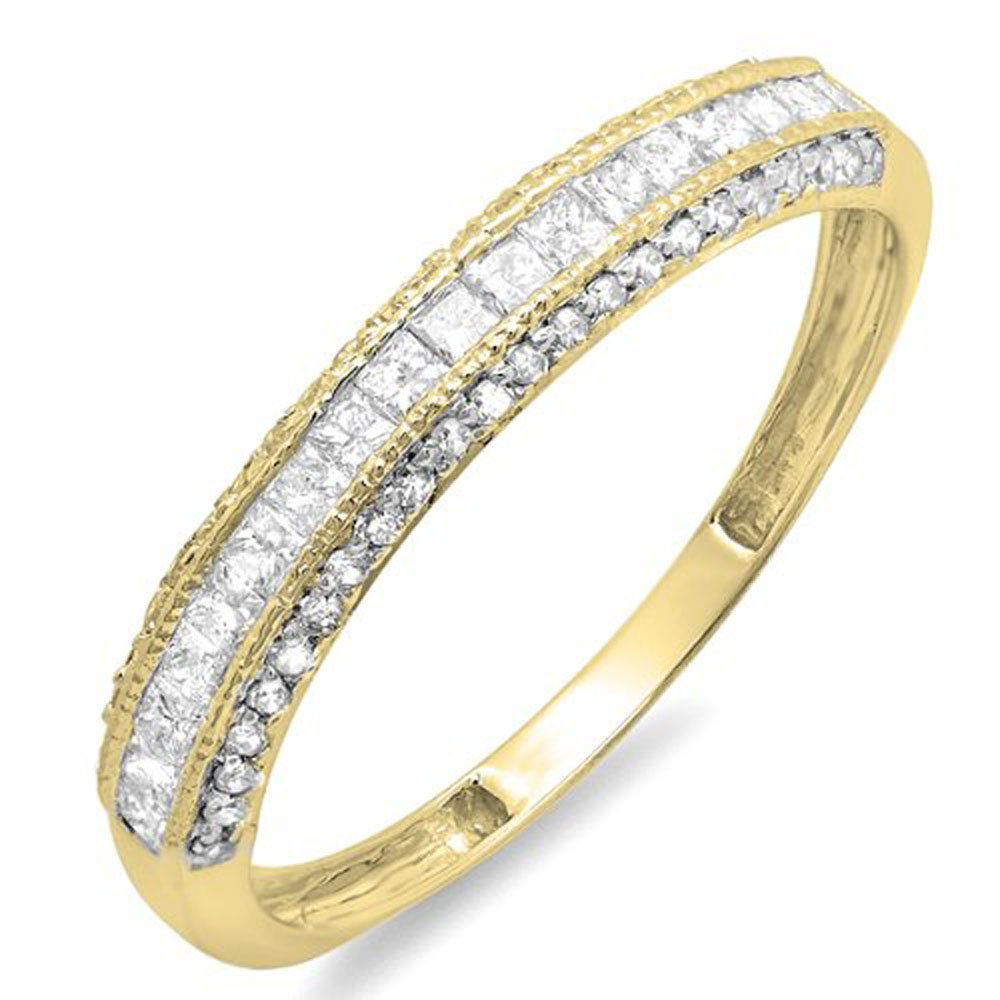 Dazzlingrock Collection 0.45 Carat (ctw) 10k Princess & Round Diamond Ladies Anniversary Wedding Matching Band Stackable Ring 1/2 CT, Yellow Gold, Size 6