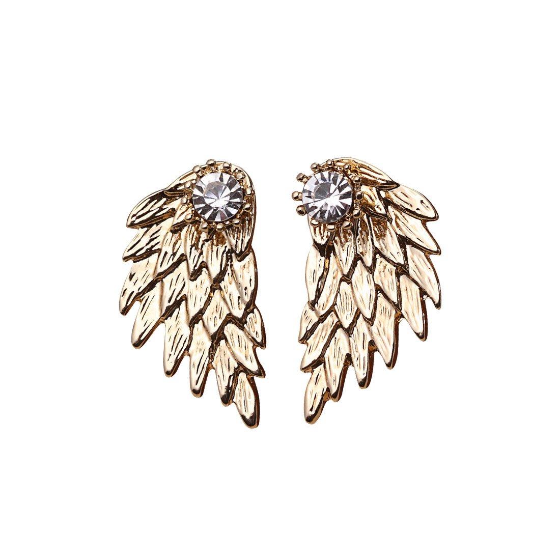 Cute Gothic Angel Wing Stud Earrings Ear Jacket for Women Unique Fashion MengPa Jewelry YH0419D