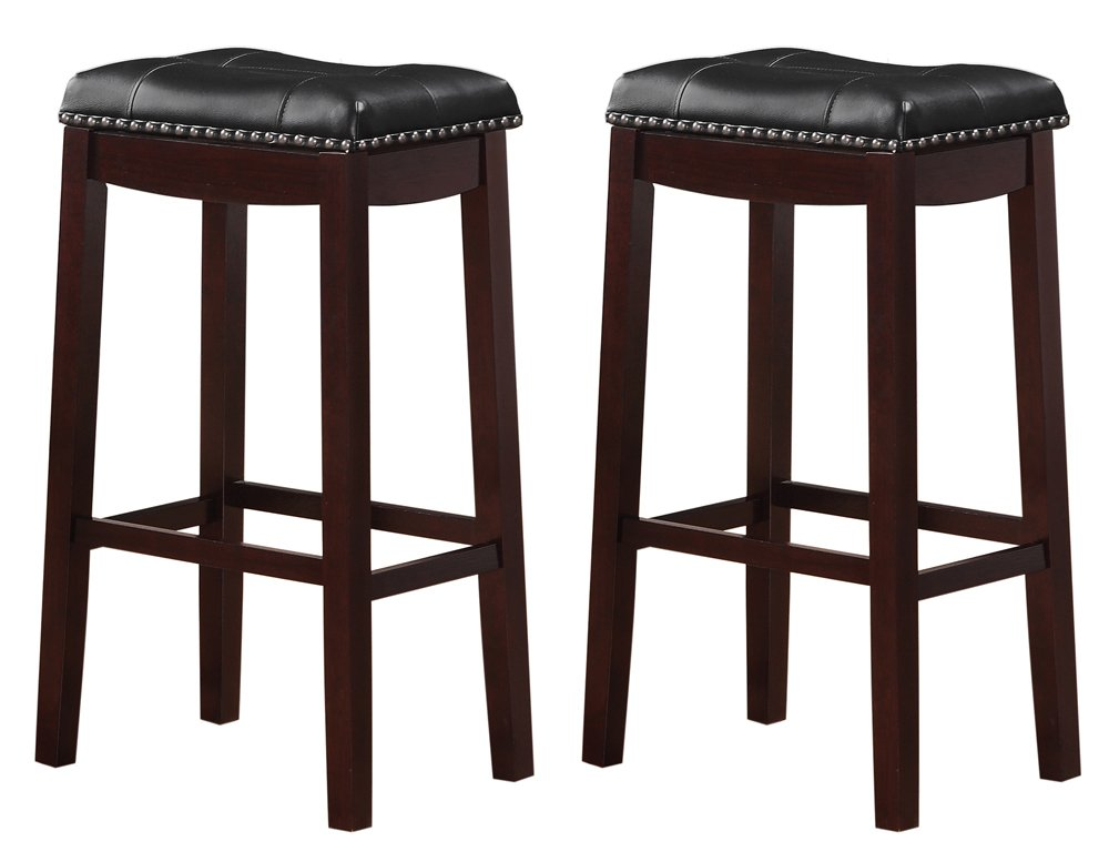 Angel Line 43416-21 Cambridge bar stools 24 Set of 2 White with Dark Red Cushion Longwood Forest Products Inc.