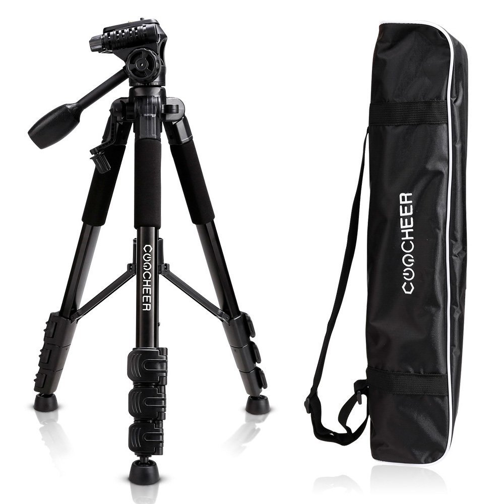 COOCHEER Camera Video Tripod, Alluminum Alloy Camera Stand with Carrying Bag, for DSLR Camcorder Canon Sony Nikon Olympus Lumix Fujifilm Pentax K-1 (Tripod)