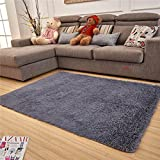 Adasmile Super Soft Thick Indoor Modern Shaggy Area Rugs/Floor Mat/Cover Carpets with Memory Foam Coral Velvet Fabric for Living Room/bedroom/Nursery/Teens/Home Decorate (15.7''x47.2'', Silver)