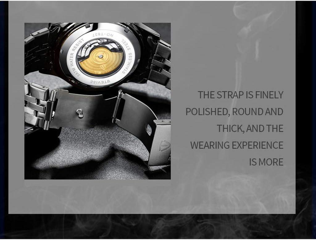 A Mechanical watches Automatische Mechanische Skelett-Business-Armbanduhr, wasserdichte Einfache Herrenuhr Aus Edelstahl - Mehrfarbig Blue