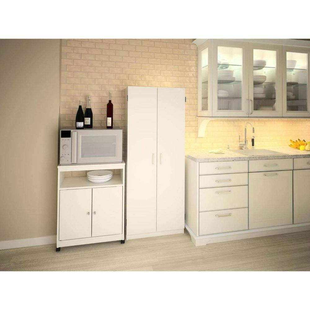 Sideboard Buffet with 2 Doors Wood Storage Floor Hall Cabinet White Portable Entryway Cabinet & e-Book by jn.widetrade. by jnwd (Image #2)