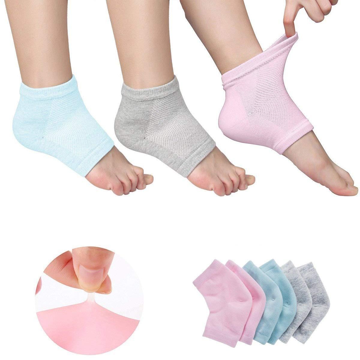 Con ventilación Hidratante Gel talón calcetines dedos abiertos pies cuidado conjuntos Ultimate Tratamiento para secado duro agrietada piel con Spa calidad Botánico Gel Pack de 3pares KENTY