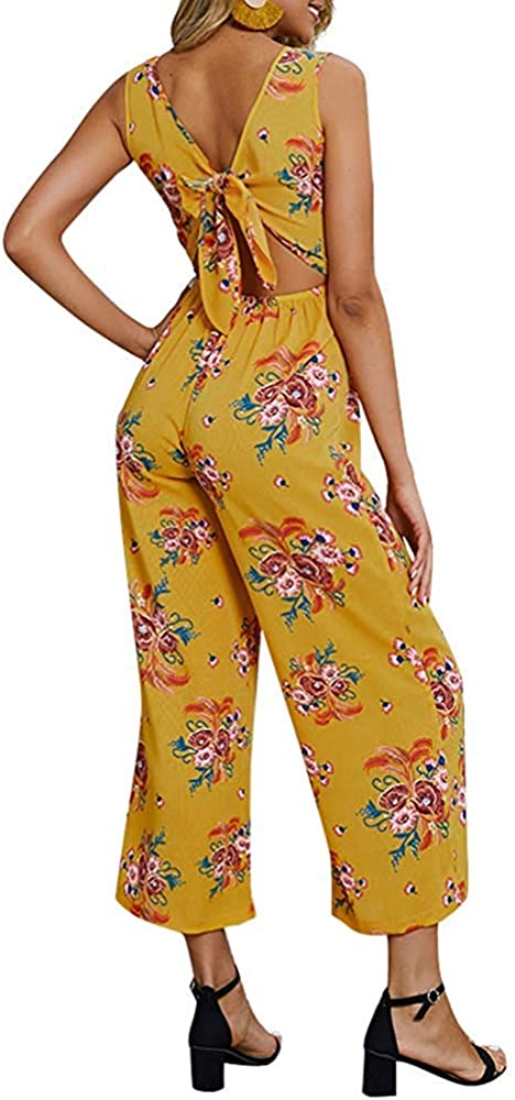 Atease Women Foral Print V Neck Sleeveless Jumpsuit Tied Bandage Cut Out Back Buttons Wide Legs Pants Casual Loose Rompers