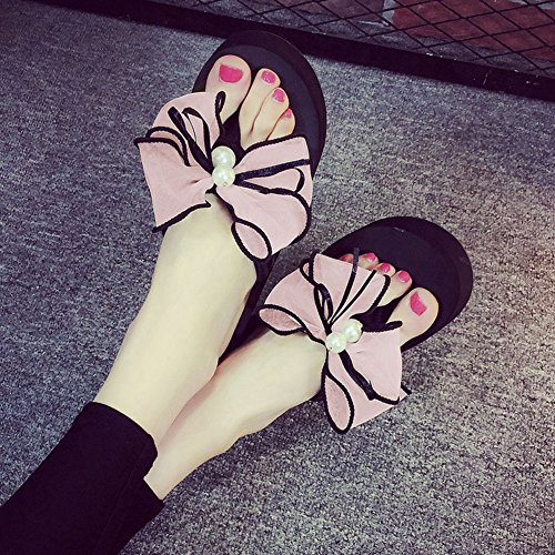 Bottom Slip Flops Flip Pink JULY Thick Butterfly Heels Wedges T Sandals Slippers No Women High xTy0Uawy7