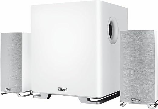Trust Mitho - Set de Altavoces para televisión (2.1, subwoofer de 120 W), Blanco: Amazon.es: Electrónica