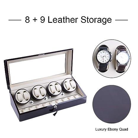 Amazon.com: udgtee XTELARY Luxury 4 Motor Automatic Rotate Watch Winder 8+9 Leather Storage Display Case Box (R4892EB): Home & Kitchen