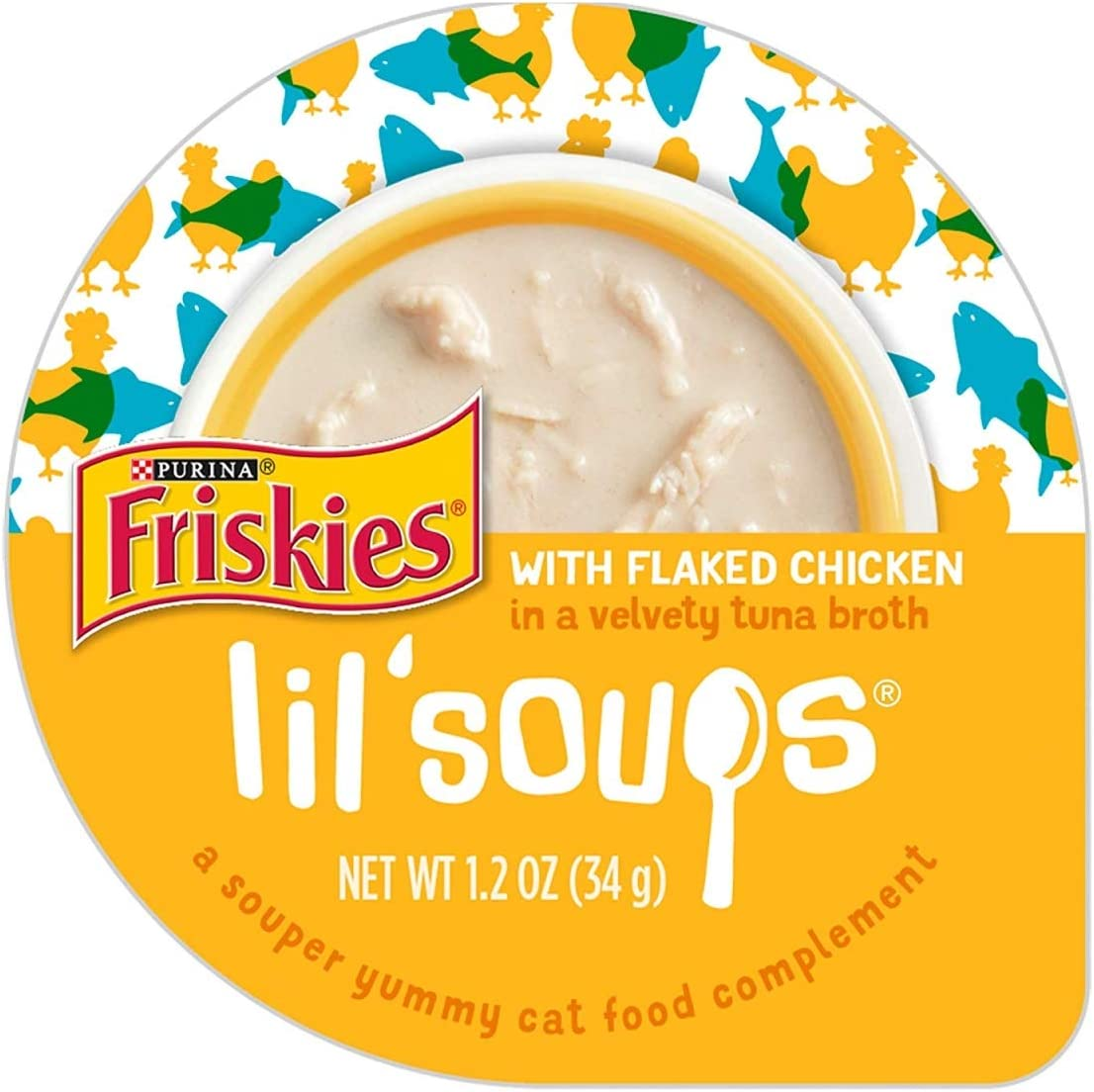 Purina 050568 1.2 oz Friskies Lil Soups with Flaked Chicken in a Velvety Tuna Broth44; Case of 8