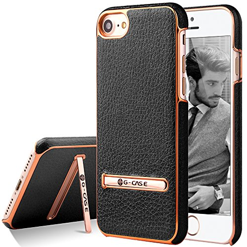 iPhone 7 Case, G-CASE [Plating] - Black and Metallic Rose Gold [Metal Kickstand][Anti-Scratch][Synthetic Leather][Shockproof][Bulit-in Magnetic Metal Plate] For Apple iPhone 7 (2016)